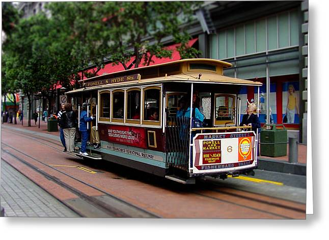 San Francisco Cable Car Greeting Card by SFPhotoStore