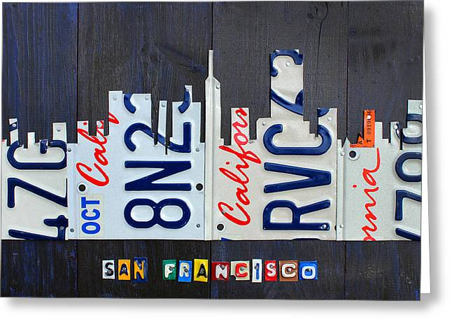 San Francisco California Skyline License Plate Art Greeting Card