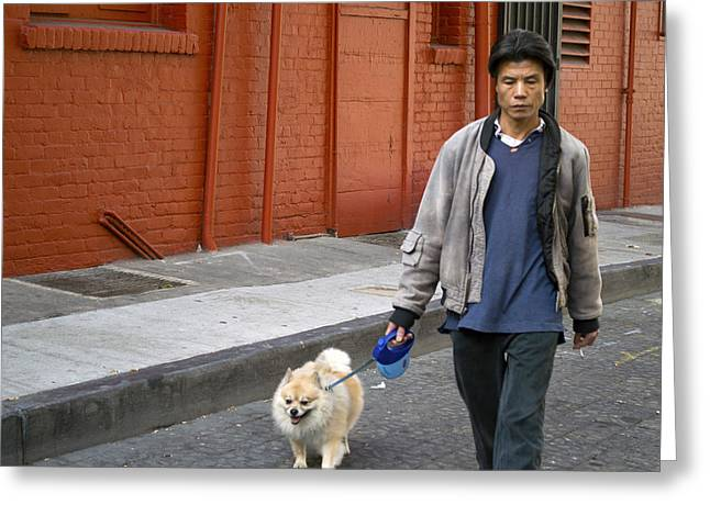 San Francisco Chinatown Dog Walker Greeting Card by Christopher Winkler