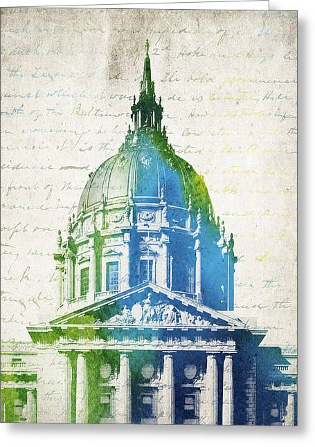 San Francisco City Hall Greeting Card by Aged Pixel