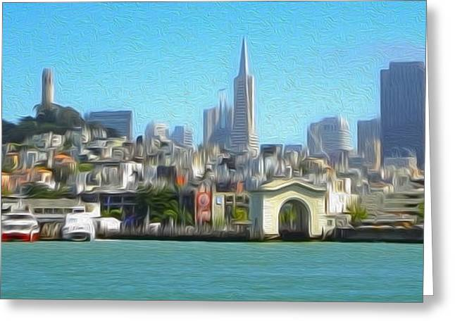 San Francisco - Cityscape - 01 Greeting Card by Gregory Dyer