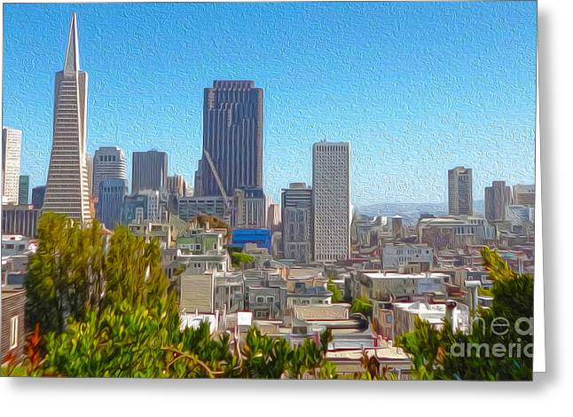 San Francisco - Cityscape - 03 Greeting Card by Gregory Dyer
