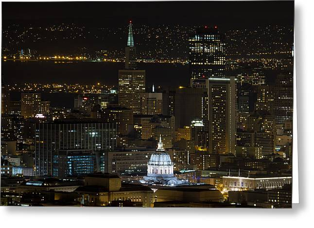 San Francisco Cityscape With City Hall At Night Greeting Card by David Gn