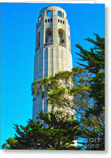 San Francisco - Coit Tower - 01 Greeting Card by Gregory Dyer