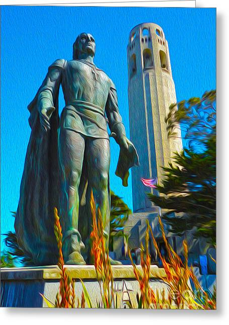 San Francisco - Coit Tower - 02 Greeting Card by Gregory Dyer