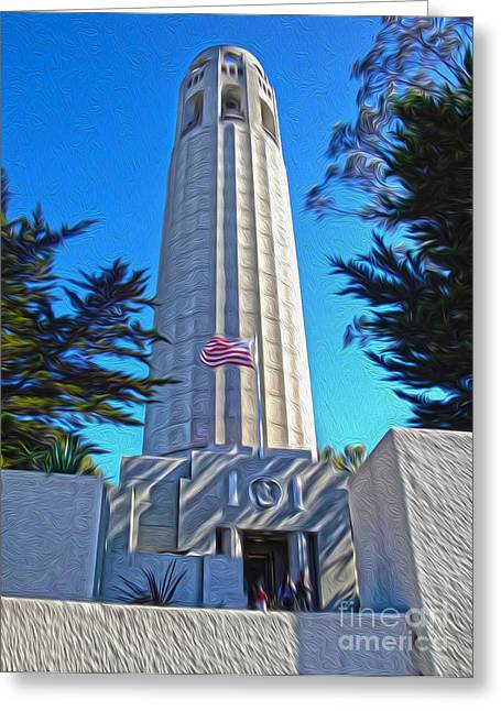 San Francisco - Coit Tower - 03 Greeting Card by Gregory Dyer