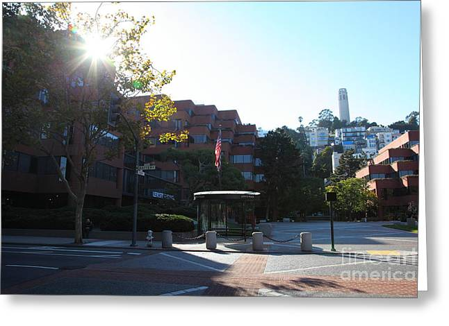 San Francisco Coit Tower At Levis Plaza 5d26189 Greeting Card