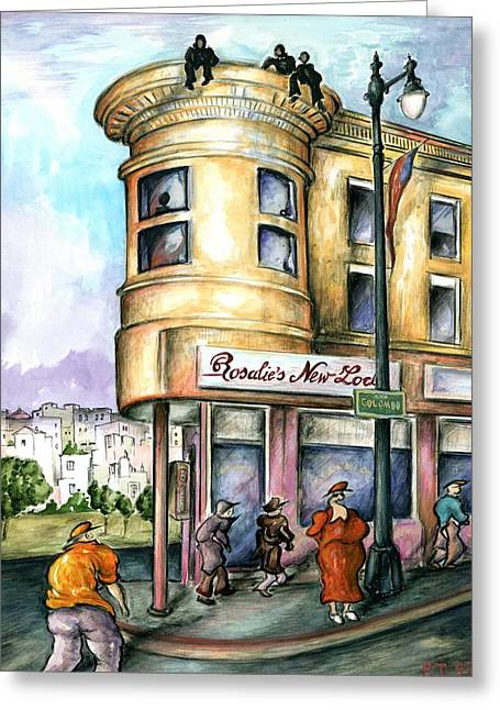 San Francisco North Beach - Watercolor Art Greeting Card by Art America Gallery Peter Potter