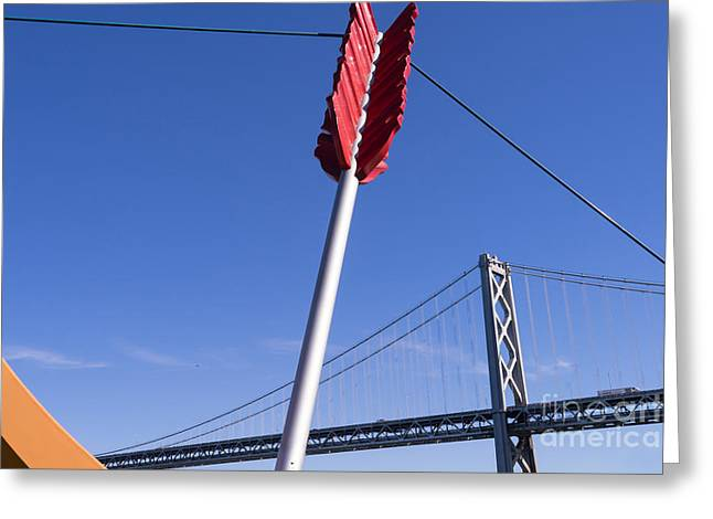 San Francisco Cupids Span Sculpture At Rincon Park On The Embarcadero Dsc1812 Greeting Card by Wingsdomain Art and Photography