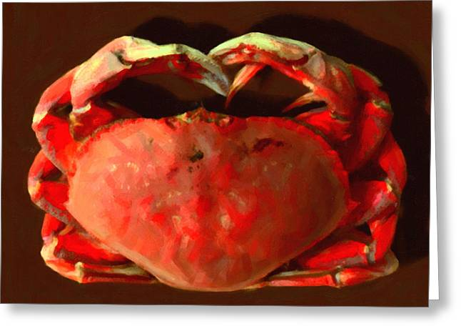 San Francisco Dungeness Crab - Painterly - Square Greeting Card