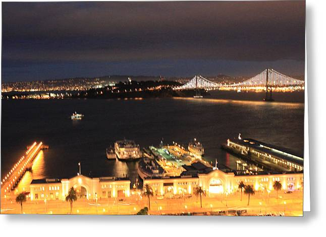 San Francisco Embarccadero And Bay Bridge Lights Greeting Card by Ron McMath