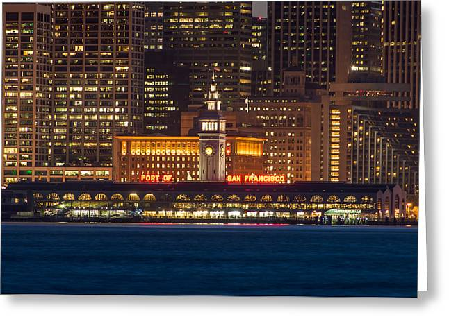 San Francisco Ferry Building At Night.  Greeting Card