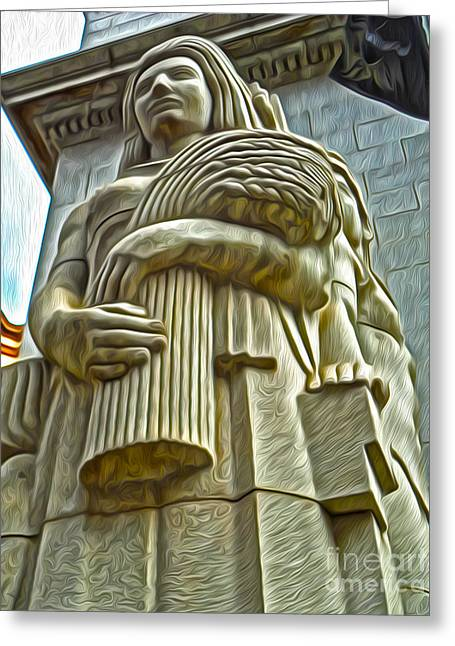 San Francisco - Financial District Statue - 04 Greeting Card by Gregory Dyer