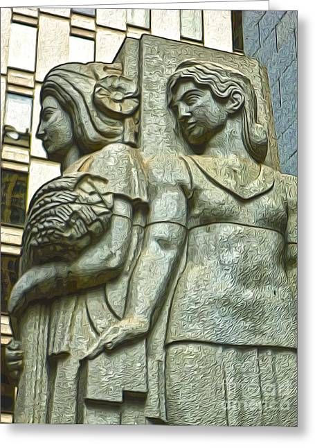 San Francisco - Financial District Statue - 05 Greeting Card by Gregory Dyer