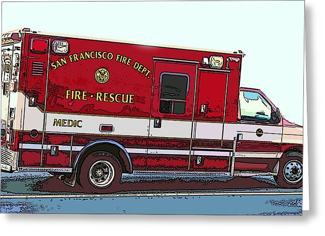 San Francisco Fire Dept. Medic Vehicle Greeting Card by Samuel Sheats