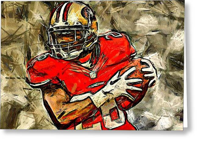 San Francisco Football Player Greeting Card by Carrie OBrien Sibley