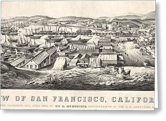 San Francisco From Telegraph Hill 1850 Greeting Card by Padre Art