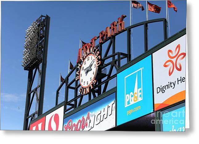 San Francisco Giants Baseball Scoreboard And Clock 5d28240 Greeting Card by Wingsdomain Art and Photography