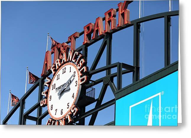 San Francisco Giants Baseball Scoreboard And Clock 5d28243 Greeting Card by Wingsdomain Art and Photography