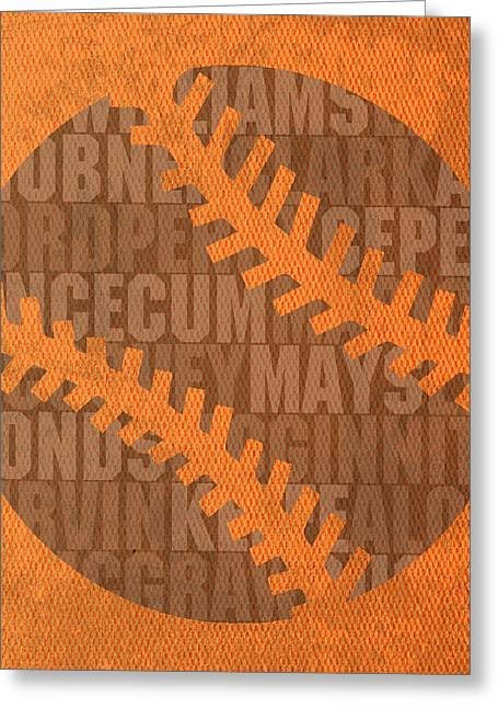 San Francisco Giants Baseball Typography Famous Player Names On Canvas Greeting Card by Design Turnpike