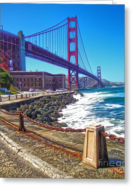 San Francisco - Golden Gate Bridge - 12 Greeting Card by Gregory Dyer