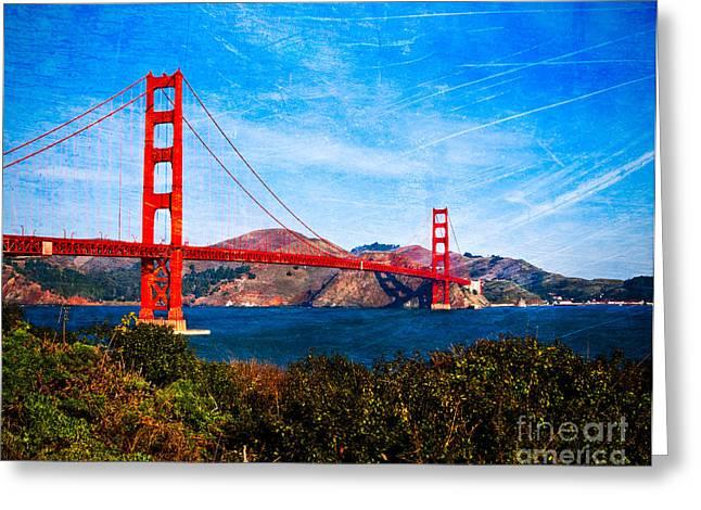 San Francisco Golden Gate Greeting Card by Sonja Quintero