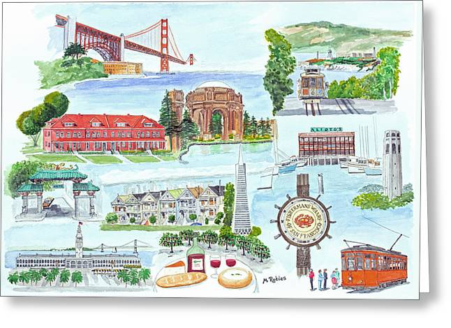 San Francisco Highlights Montage Greeting Card by Mike Robles
