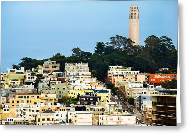 San Francisco California Hills And Coit Tower Greeting Card by Gregory Ballos