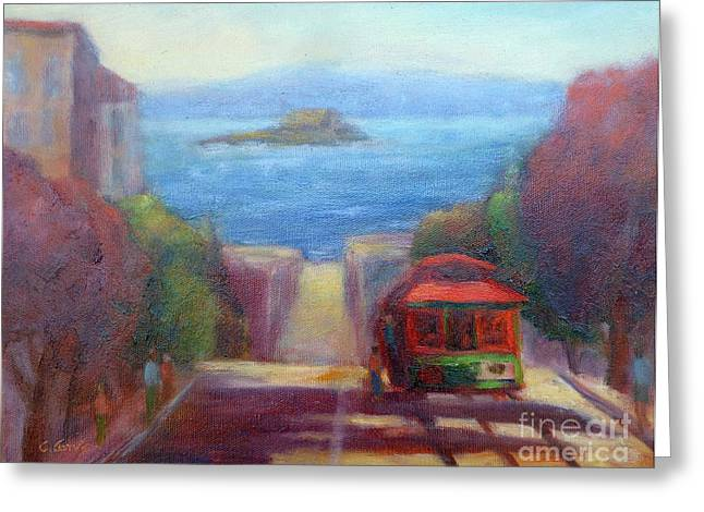 San Francisco Hills Greeting Card by Carolyn Jarvis