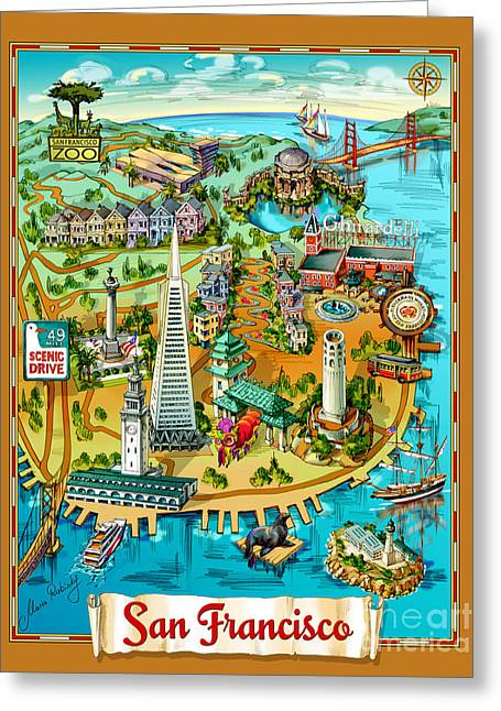 San Francisco Illustrated Map Greeting Card by Maria Rabinky