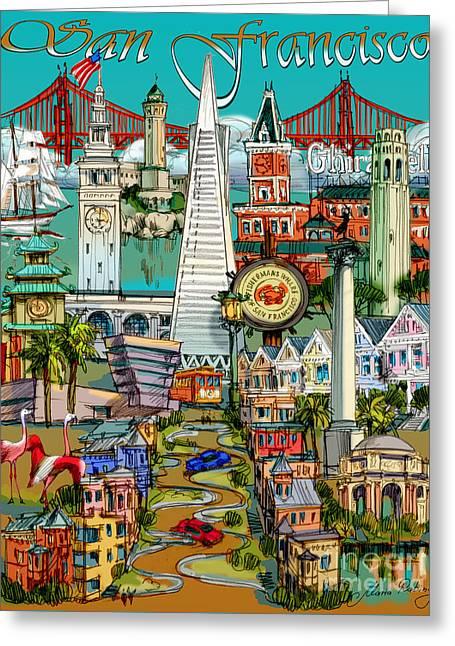 San Francisco Illustration Greeting Card by Maria Rabinky