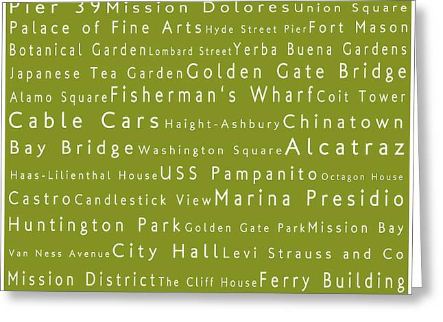 San Francisco In Words Olive Greeting Card