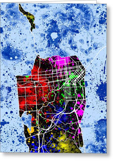San Francisco Map Greeting Card by Stephen Younts
