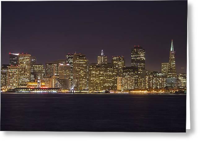 San Francisco Nighttime Skyline 1 Greeting Card