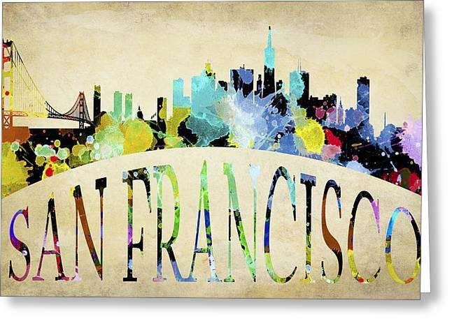 San Francisco Paint Splatter Skyline Greeting Card