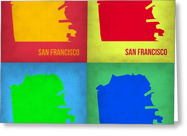 San Francisco Pop Art Map 1 Greeting Card by Naxart Studio