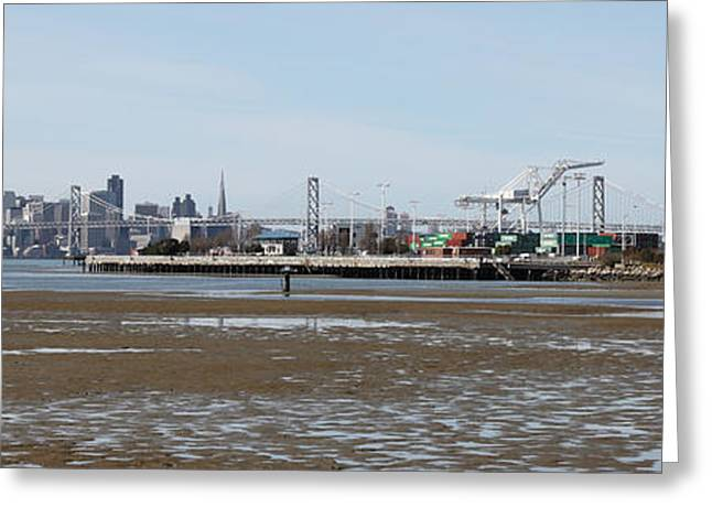 San Francisco Skyline And The Bay Bridge Through The Port Of Oakland 5d22238 Greeting Card