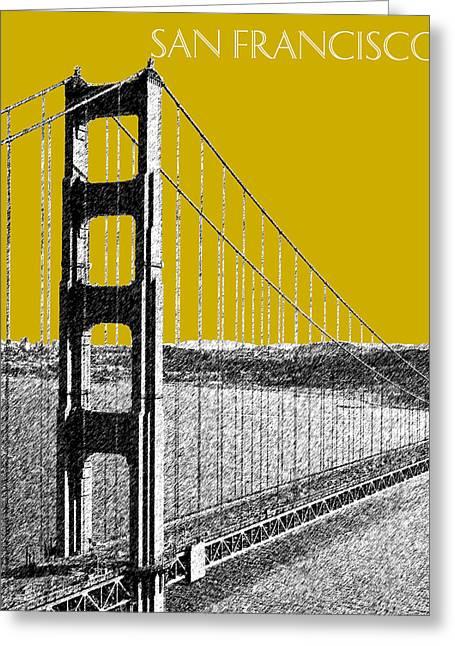 San Francisco Skyline Golden Gate Bridge 1 - Gold Greeting Card by DB Artist