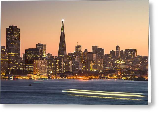 San Francisco Skyline Late Evening Greeting Card