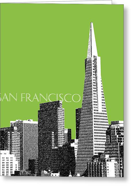 San Francisco Skyline Transamerica Pyramid Building - Olive Greeting Card by DB Artist
