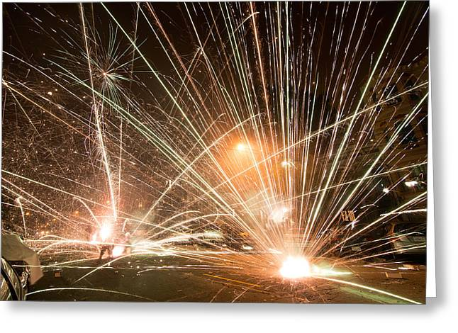 San Francisco Street Fireworks Greeting Card by Leland D Howard