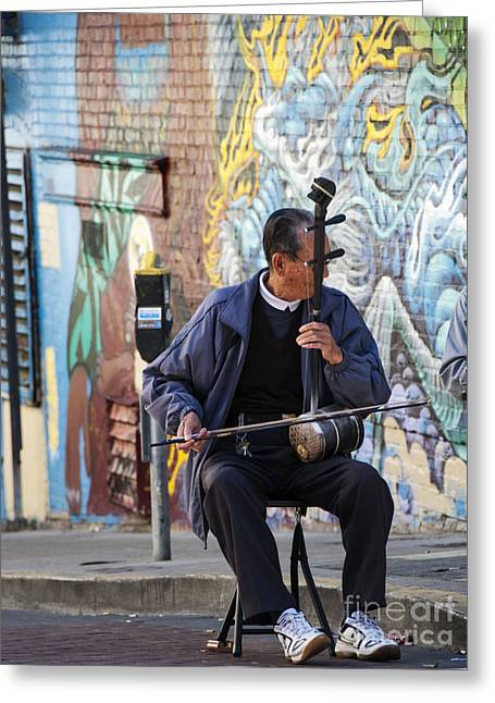 San Francisco Street Musician Greeting Card by Juli Scalzi