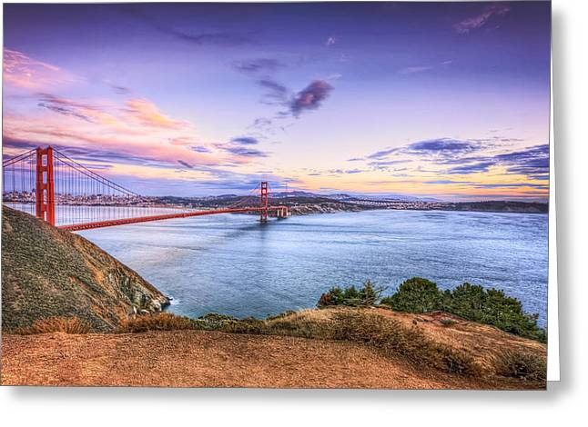 San Francisco Sunset And The Golden Gate Bridge From Marin Headlands 2 Greeting Card