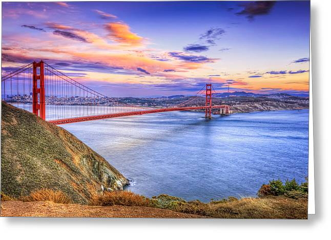 San Francisco Sunset And The Golden Gate Bridge From Marin Headlands Greeting Card by Jennifer Rondinelli Reilly - Fine Art Photography