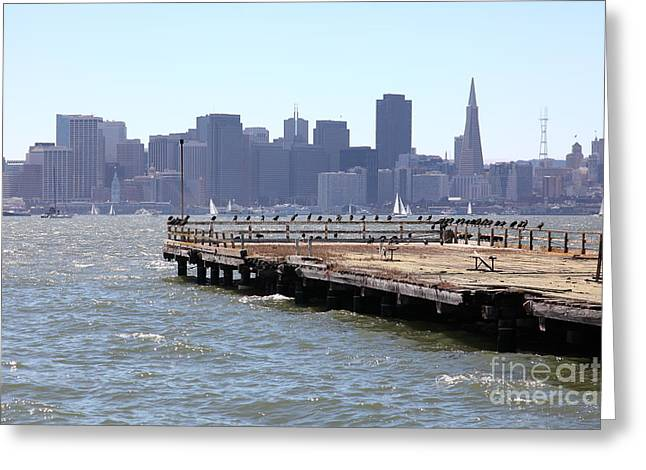 San Francisco Through The Treasure Island Pier 5d25350 Greeting Card by Wingsdomain Art and Photography
