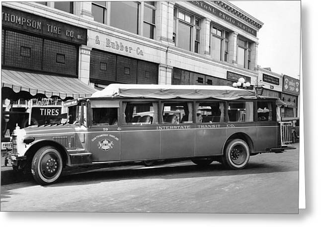 San Francisco To Portland Bus Greeting Card by Keystone Photo Service