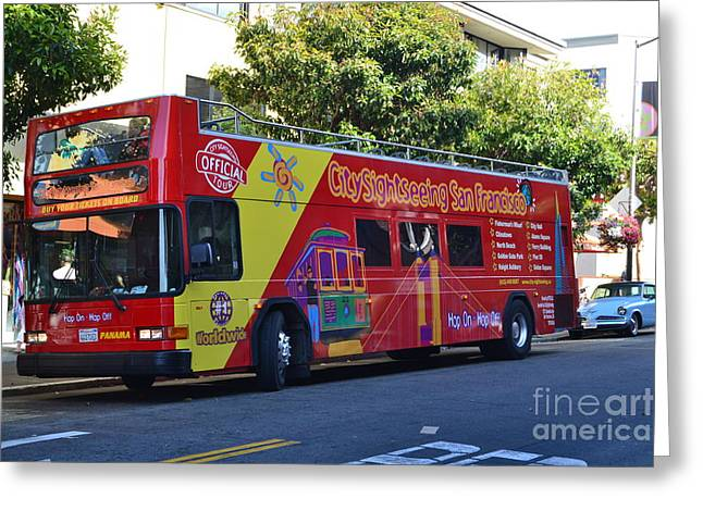 San Francisco Tour Bus Greeting Card by Michael Inscoe