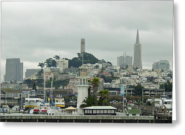San Francisco View From Fishermans Wharf Greeting Card by Suzanne Gaff
