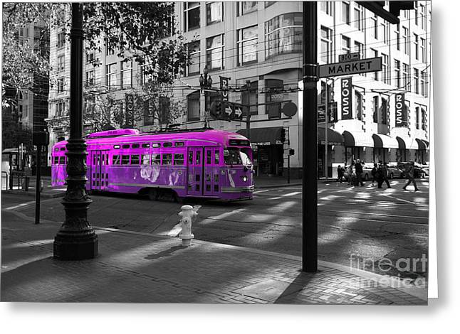 San Francisco Vintage Streetcar On Market Street - 5d19798 - Black And White And Violet Greeting Card by Wingsdomain Art and Photography