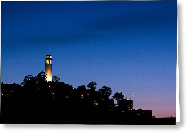 San Francisco's Coit Tower At Night Greeting Card by SFPhotoStore